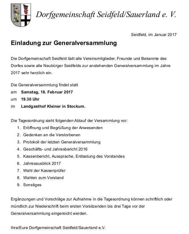 einladung zur mitgliederversammlung 2017 – dorfgemeinschaft, Einladung